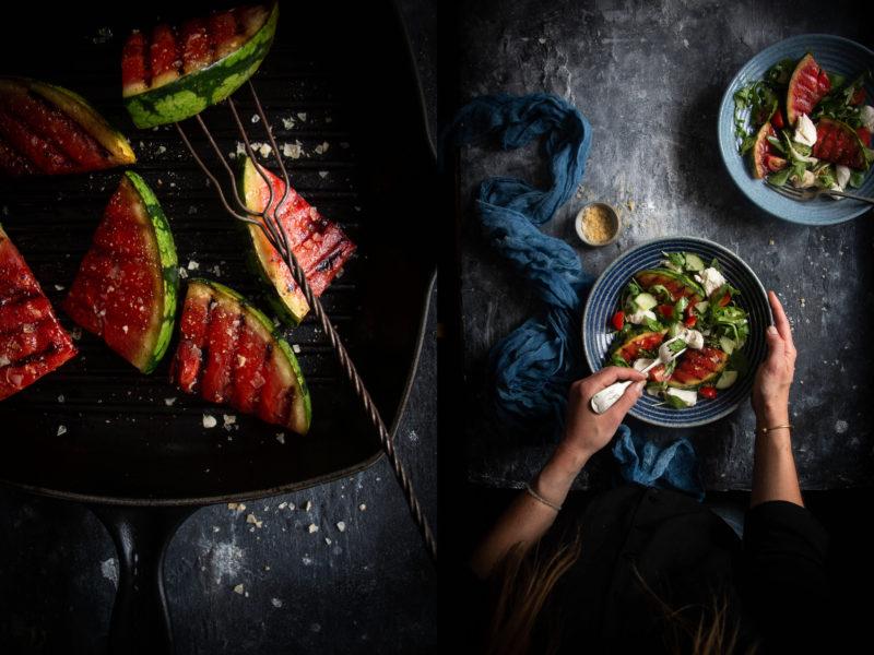 Grilled watermelon mozzarella salad