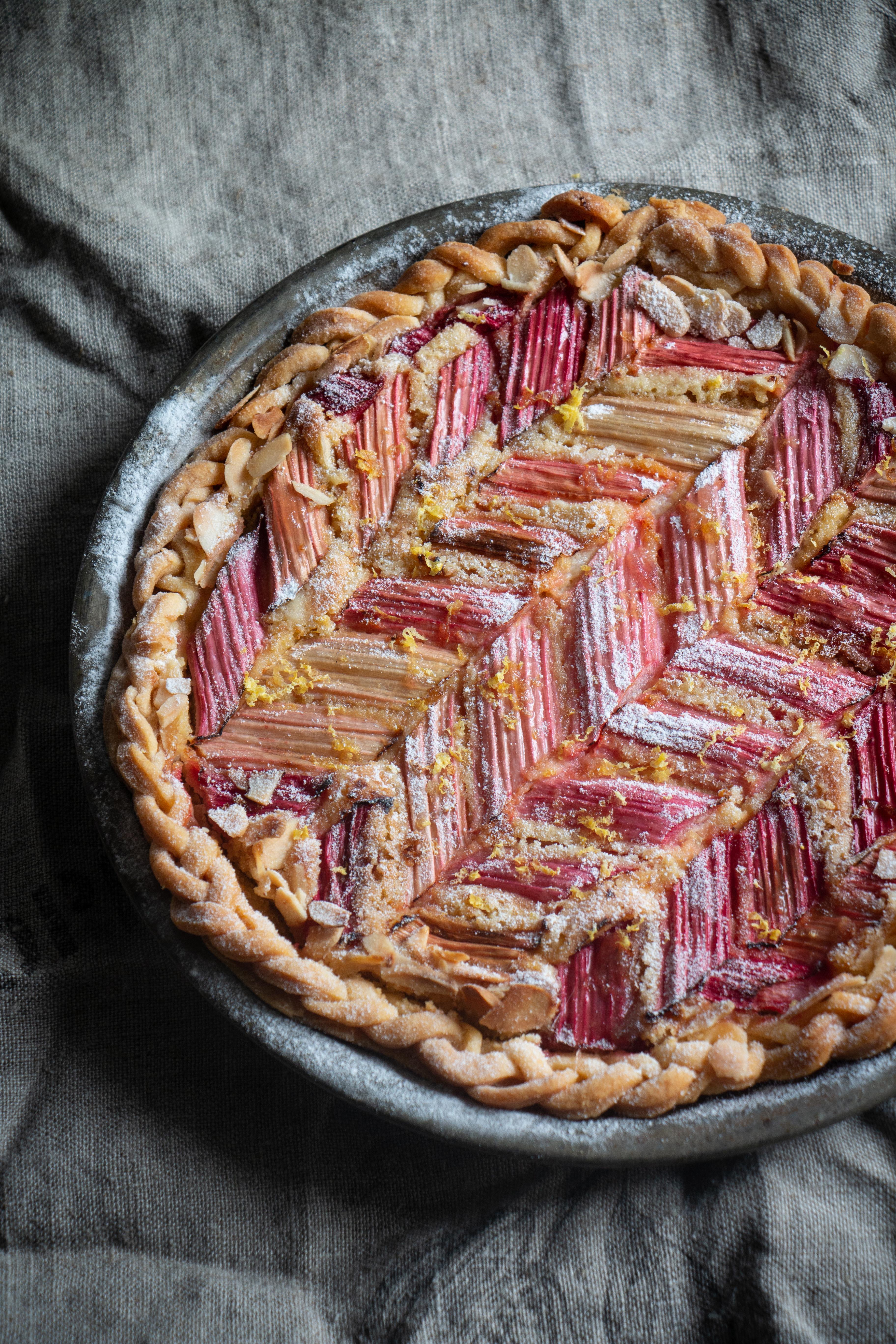 Rhubarb frangipane tart