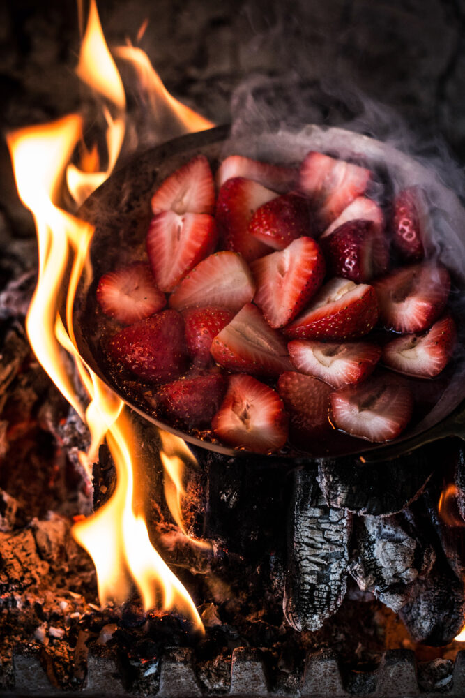 strawberries in the fire