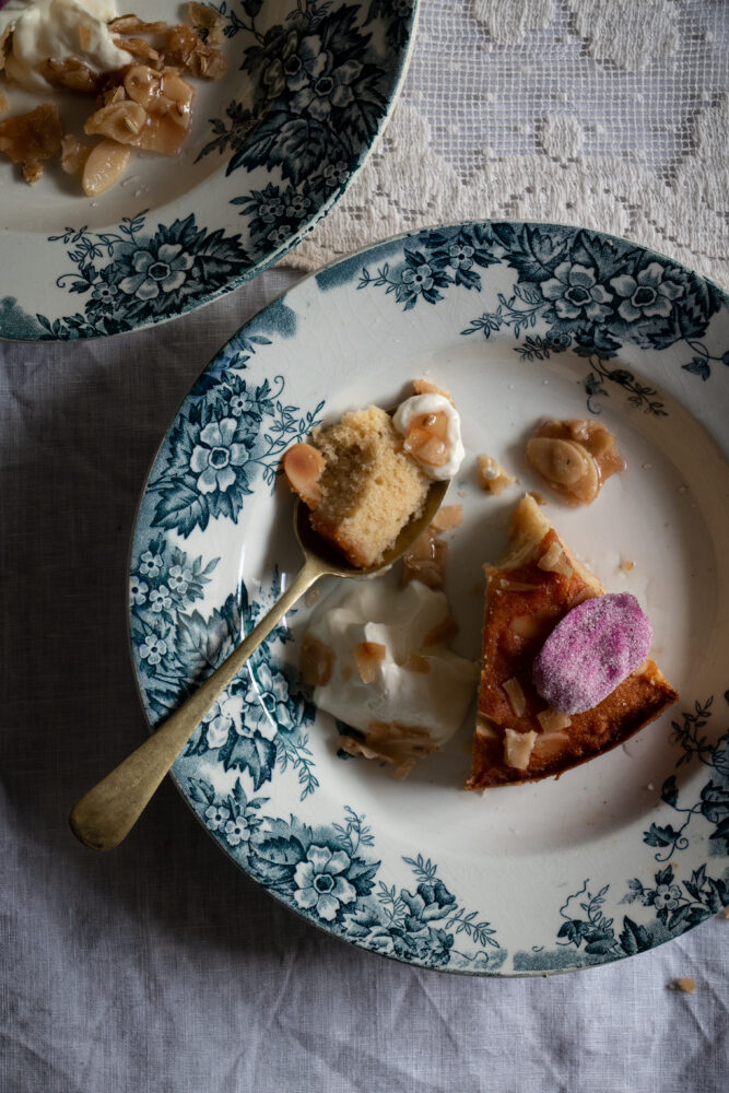 moist semolina almond cake with wild rose syrup