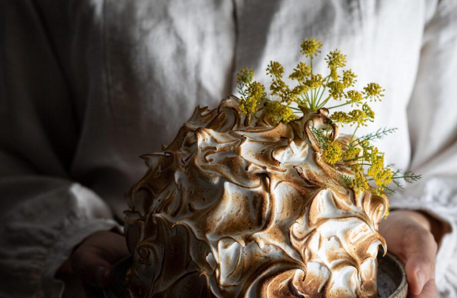 Fennel pollen, honey and ricotta ice cream baked Alaska